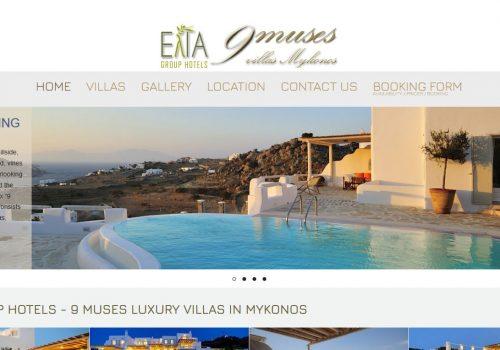 Κατασκευή ιστοσελίδας 9musesvillasmykonos.gr & διασύνδεση με Hotel-RES