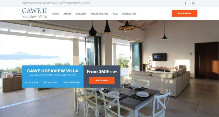 Κατασκευή ιστοσελίδας Cawevilla.com & διασύνδεση με Hotel-RES